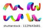 set of colorful brush stroke...   Shutterstock .eps vector #1129643681