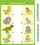 worksheet with matching game.... | Shutterstock .eps vector #1129652444