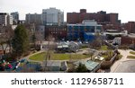 Small photo of April 25 ,2018- Halifax, Nova Scotia: Looking down over the children's side playground of the IWK Hospital, and looking out over University Avenue with the Dickson Building of the QE2 Hospital