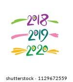 years number handwriting.... | Shutterstock .eps vector #1129672559