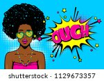 ouch  oops  surprise. black... | Shutterstock .eps vector #1129673357