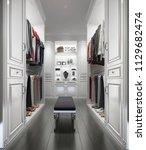 3d rendering classic white wood ... | Shutterstock . vector #1129682474