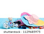 teddy bear with alarm clock and ... | Shutterstock . vector #1129685975