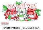 2019 happy new year... | Shutterstock . vector #1129686464