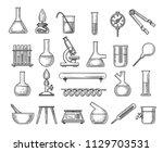 vintage chemistry lab. vector... | Shutterstock .eps vector #1129703531