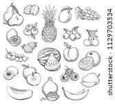 vintage fruit sketch. hand... | Shutterstock .eps vector #1129703534