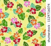 hibiscus flower pattern  this...   Shutterstock .eps vector #1129716074