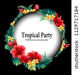 tropical flower decoration... | Shutterstock .eps vector #1129717184