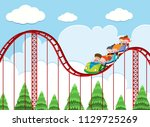 a roller coaster ride at theme... | Shutterstock .eps vector #1129725269