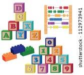 set of children toys on the... | Shutterstock .eps vector #112973941