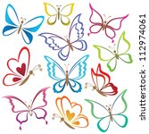 Stock vector set abstract butterflies coloured contour silhouettes on white background vector 112974061