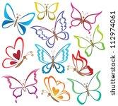 set abstract butterflies ... | Shutterstock .eps vector #112974061