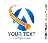 3d abstract letter a logo... | Shutterstock .eps vector #1129742834