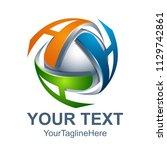 abstract 3d letter a logo... | Shutterstock .eps vector #1129742861