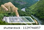 double exposure of hand using... | Shutterstock . vector #1129746857