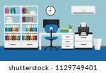 flat design of modern workspace ... | Shutterstock .eps vector #1129749401