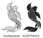 japanese koi.hand drawn... | Shutterstock .eps vector #1129754411