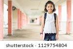 pupil of primary of preschool... | Shutterstock . vector #1129754804