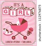 vintage baby girl poster...   Shutterstock .eps vector #112976875