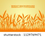 wheat on the yellow background... | Shutterstock .eps vector #1129769471
