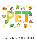 pet shop signs concept card... | Shutterstock .eps vector #1129780301