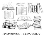 a collection of  books... | Shutterstock .eps vector #1129780877