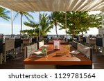 sea view restaurant on the... | Shutterstock . vector #1129781564
