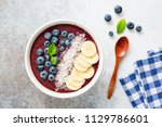 superfood acai smoothie bowl... | Shutterstock . vector #1129786601