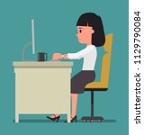 a woman is working with a... | Shutterstock .eps vector #1129790084