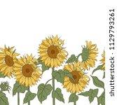 sunflowers. vector horizontal... | Shutterstock .eps vector #1129793261