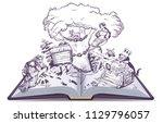 russian tales of pushkin open... | Shutterstock . vector #1129796057