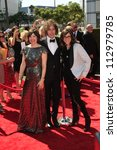 LOS ANGELES, CA - SEP 15: Carrie Brownstein, Jonathan Krisel, Karey Dornetto at the 2012 Creative Arts Emmy Awards at Nokia Theater on September 15, 2012 in Los Angeles, CA - stock photo