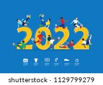 soccer players in action on... | Shutterstock .eps vector #1129799279