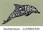 save ocean. whale  dolphin  sea ... | Shutterstock .eps vector #1129801934
