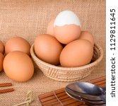 egg  food  animal shell  food... | Shutterstock . vector #1129811645