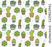 cactus seamless pattern. trendy ... | Shutterstock .eps vector #1129813961