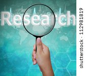 Research, word in Magnifying glass , background medical - stock photo