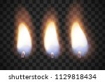 realistic flame candles with... | Shutterstock .eps vector #1129818434