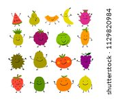 funny fruits  character set for ... | Shutterstock .eps vector #1129820984