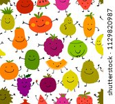 funny fruits  seamless pattern... | Shutterstock .eps vector #1129820987