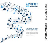 blue music notes on a solide... | Shutterstock .eps vector #1129821251