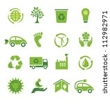 set of 16 green ecology icons | Shutterstock .eps vector #112982971