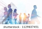 silhouettes of business people... | Shutterstock . vector #1129837451