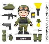 set of characters of soldier...   Shutterstock .eps vector #1129843394