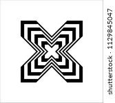 black and white x alphabet on... | Shutterstock .eps vector #1129845047