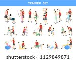 personal trainer set. gym coach ... | Shutterstock .eps vector #1129849871