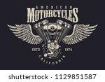 vintage custom motorcycle label ... | Shutterstock .eps vector #1129851587