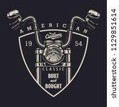 vintage classic motorbike... | Shutterstock .eps vector #1129851614
