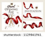 set of grand opening invitation ... | Shutterstock .eps vector #1129861961