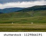 kazakh yurt in assy plateau in... | Shutterstock . vector #1129866191